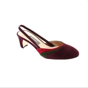 NWT Zac Posen Cindy Maroon Suede Size 38